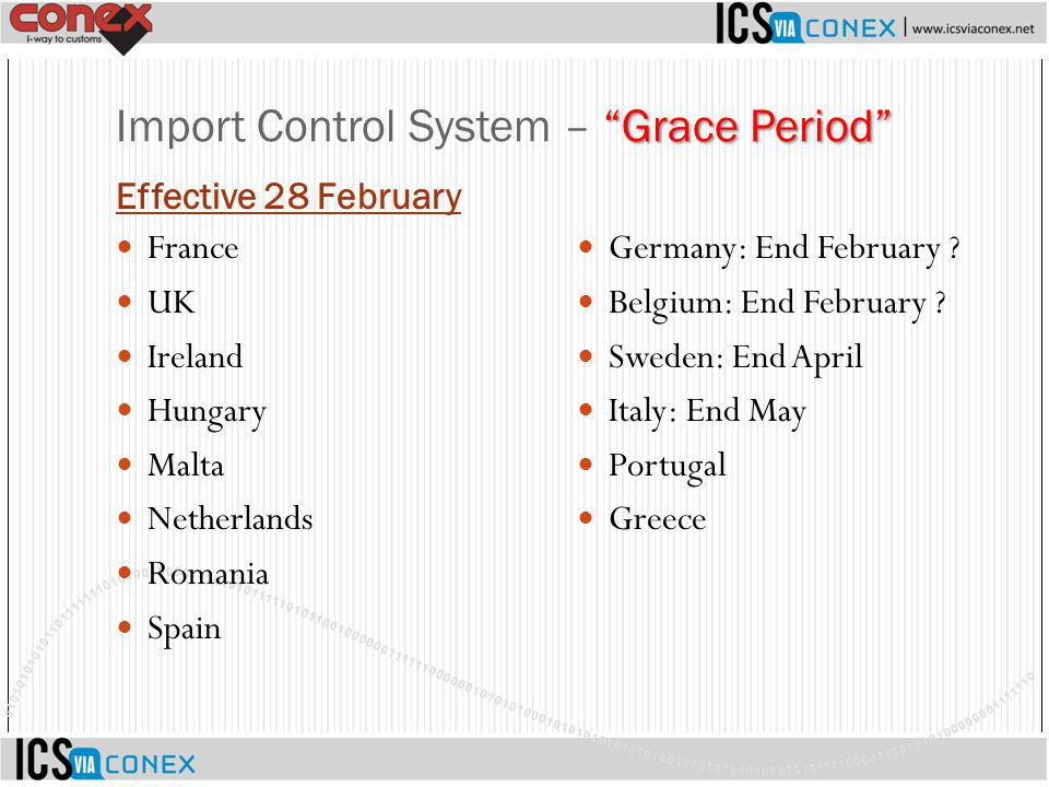 Import Control System – Grace Period