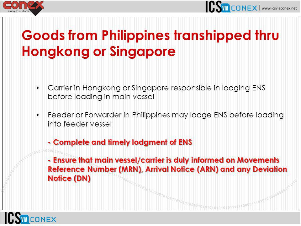 Goods from Philippines transhipped thru Hongkong or Singapore
