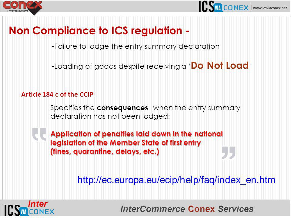 Non Compliance to ICS regulation -