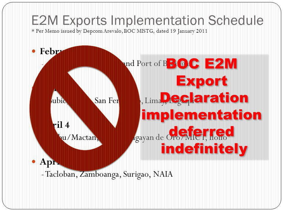 E2M Exports Implementation Schedule