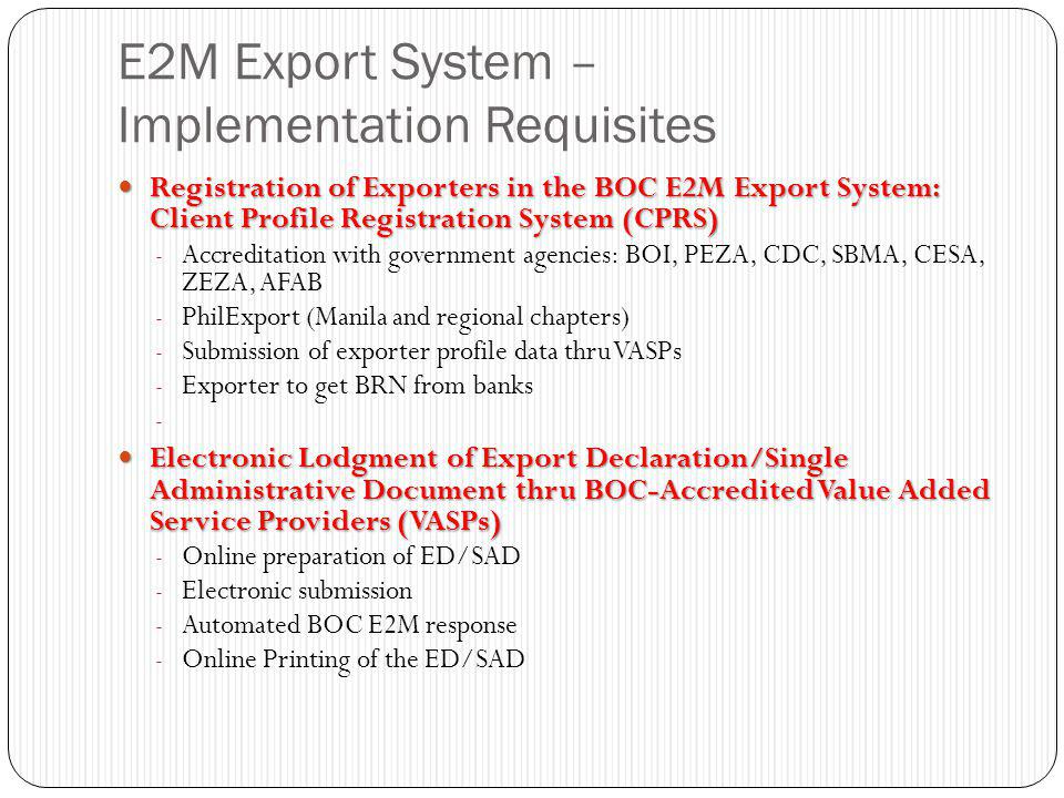 E2M Export System – Implementation Requisites