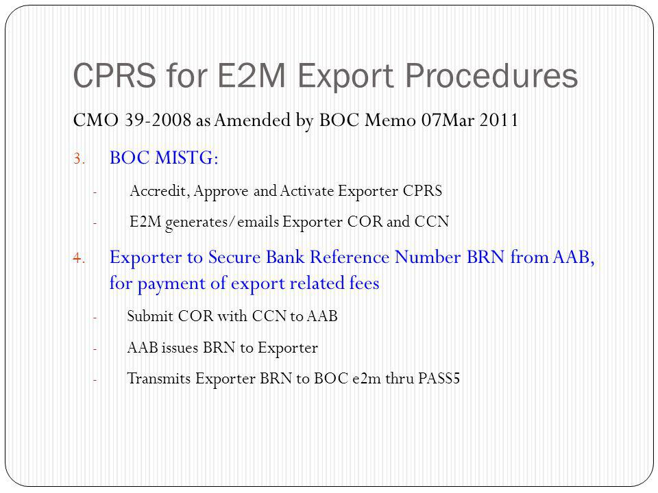 CPRS for E2M Export Procedures