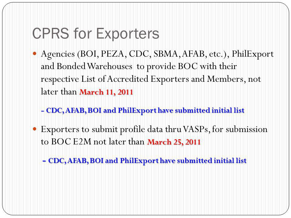 CPRS for Exporters