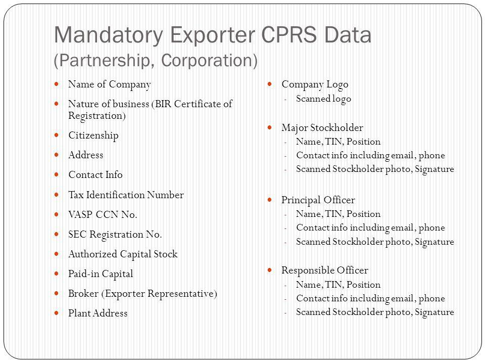 Mandatory Exporter CPRS Data (Partnership, Corporation)
