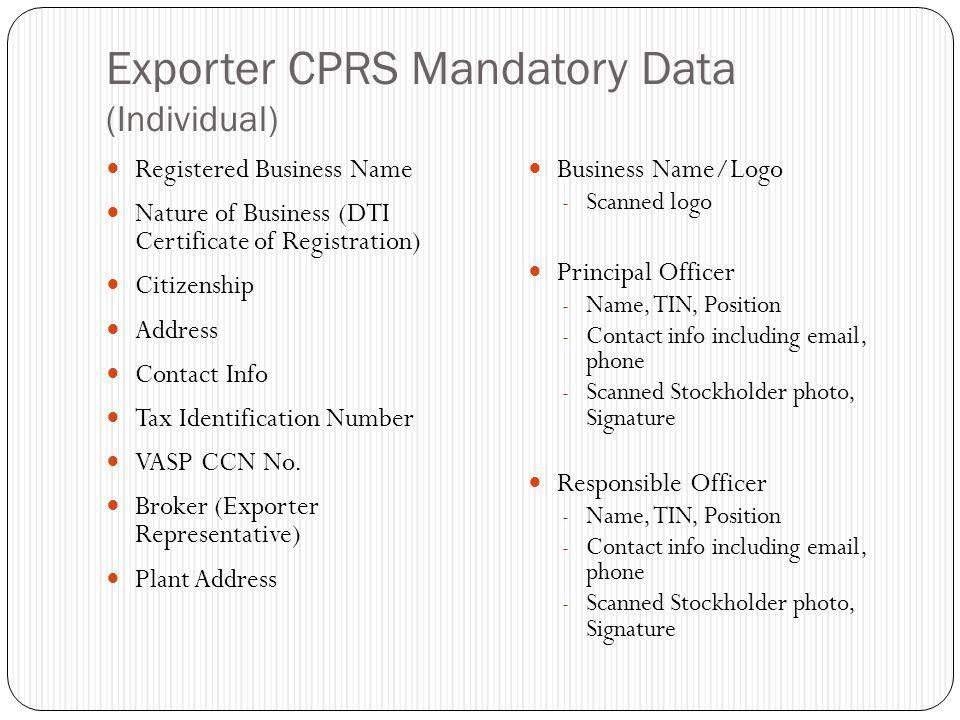 Exporter CPRS Mandatory Data (Individual)