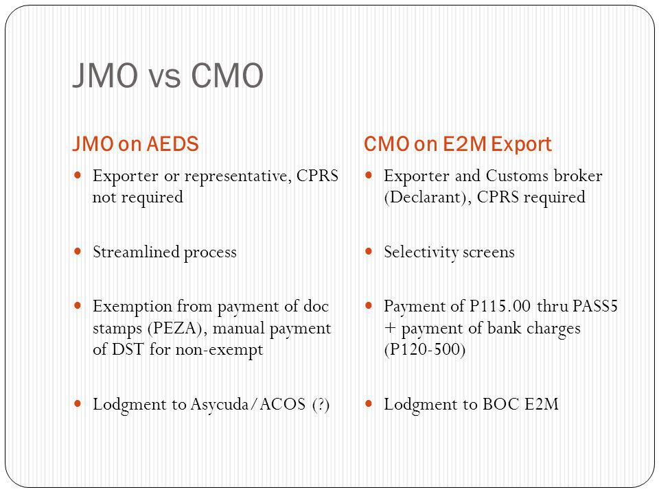 JMO vs CMO JMO on AEDS CMO on E2M Export