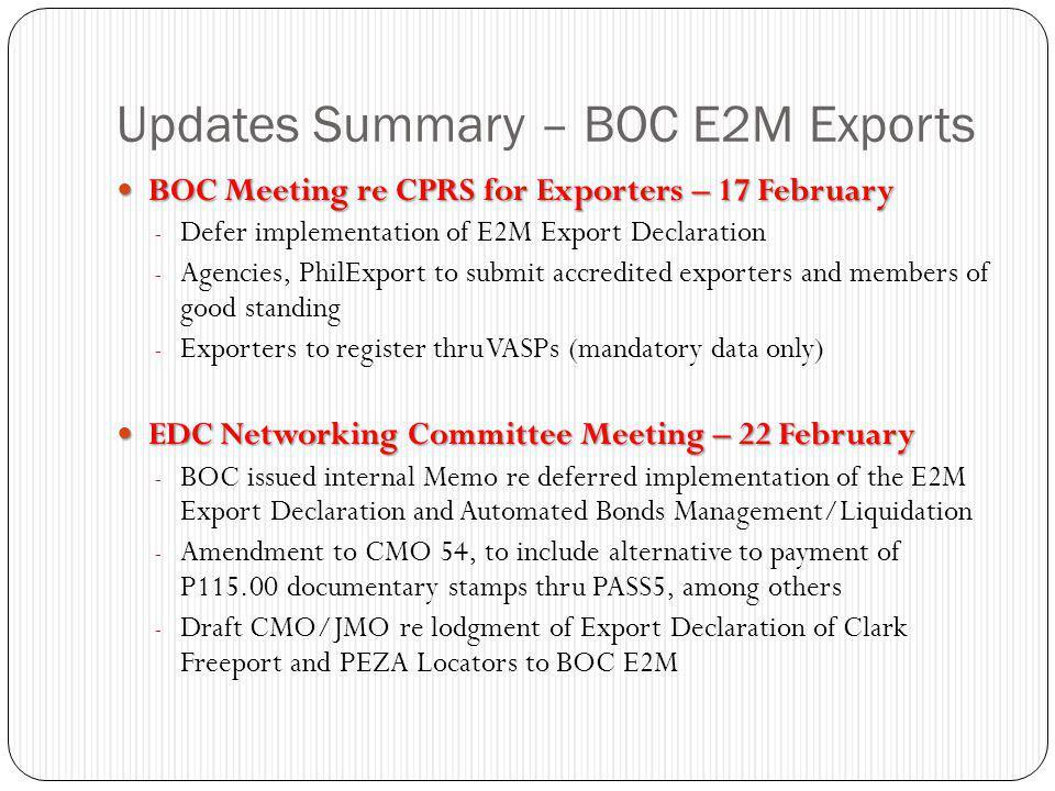 Updates Summary – BOC E2M Exports