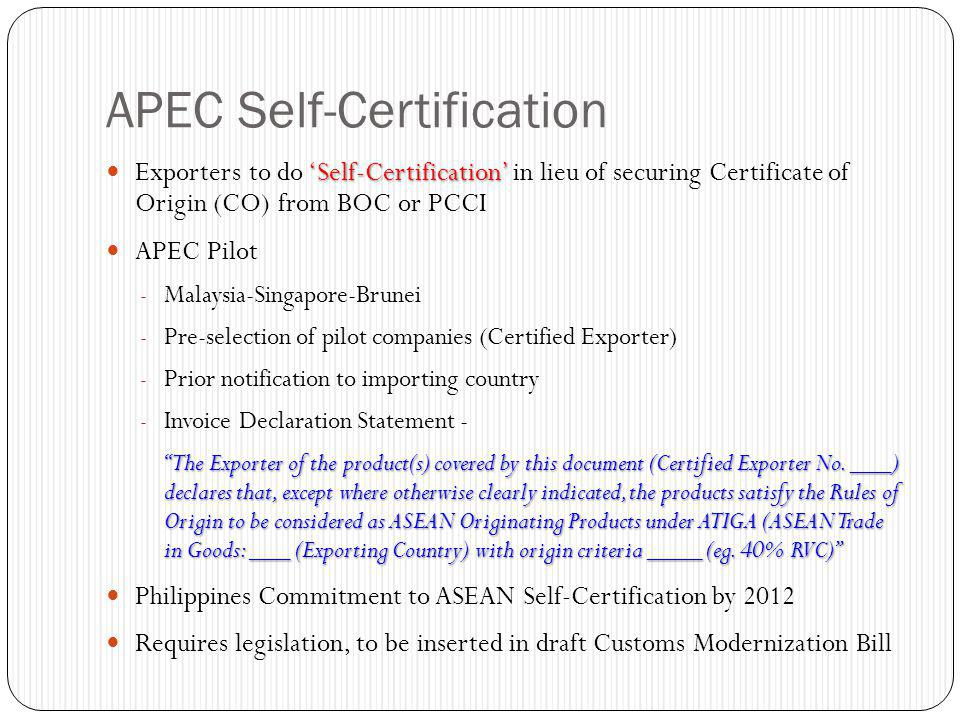 APEC Self-Certification