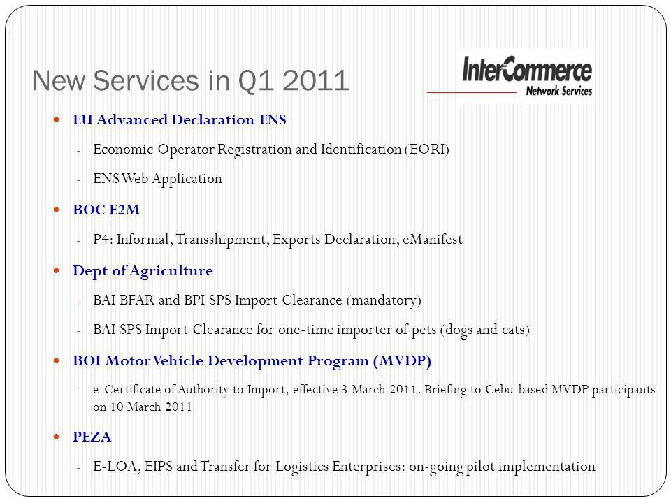 New Services in Q1 2011 EU Advanced Declaration ENS