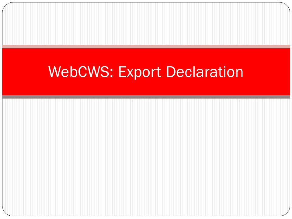 WebCWS: Export Declaration