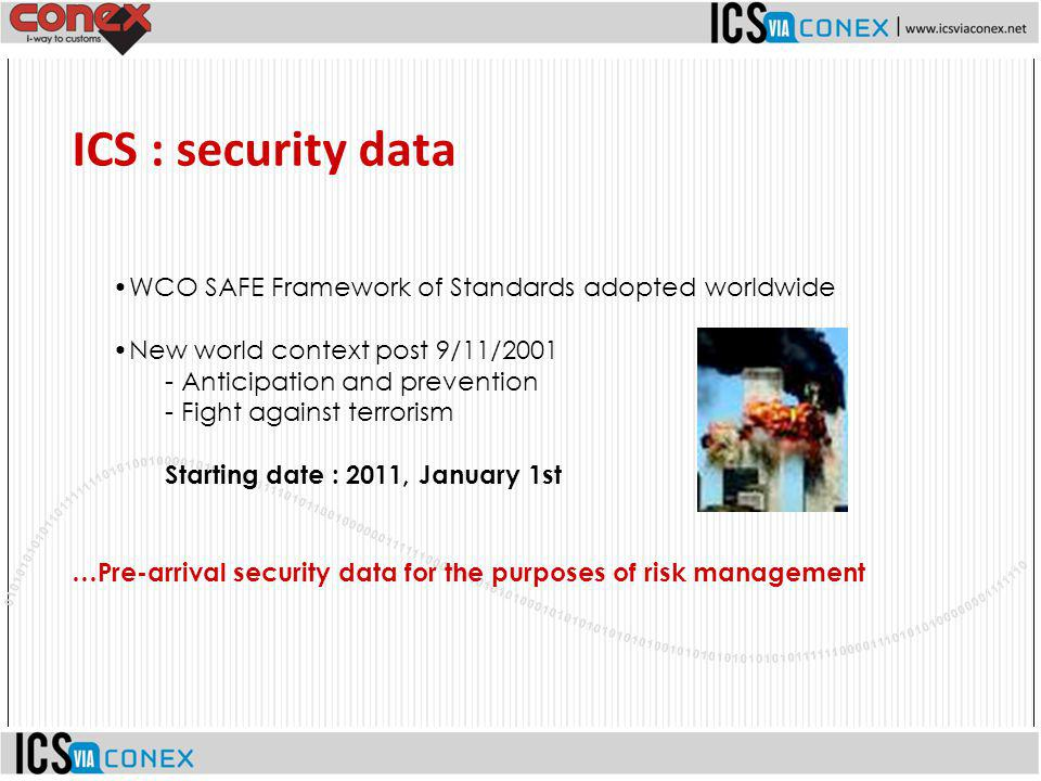 ICS : security data WCO SAFE Framework of Standards adopted worldwide