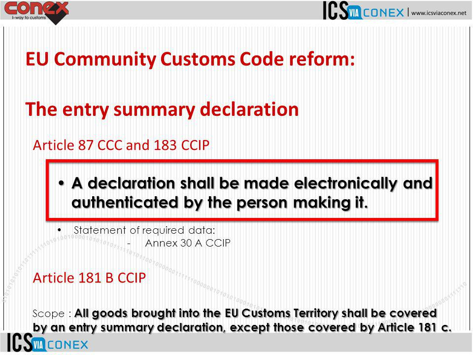 EU Community Customs Code reform: The entry summary declaration