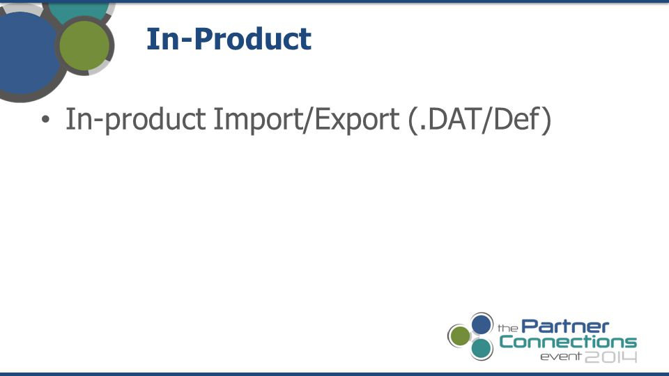 In-Product In-product Import/Export (.DAT/Def)