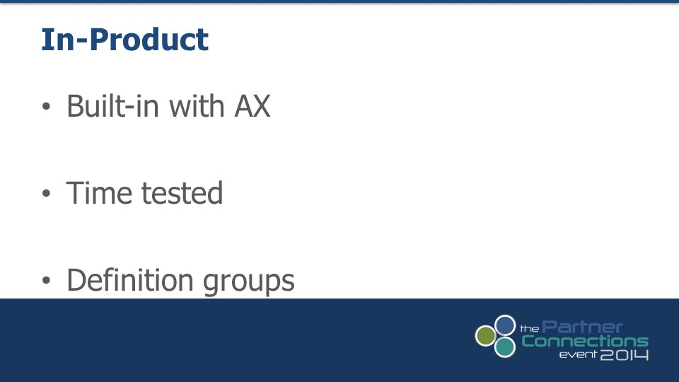 In-Product Built-in with AX Time tested Definition groups