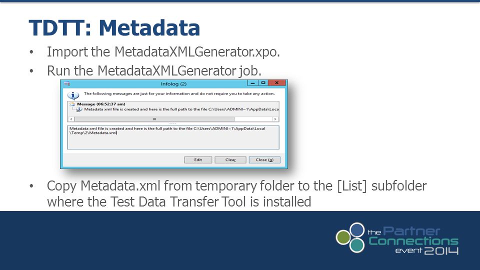 TDTT: Metadata Import the MetadataXMLGenerator.xpo.