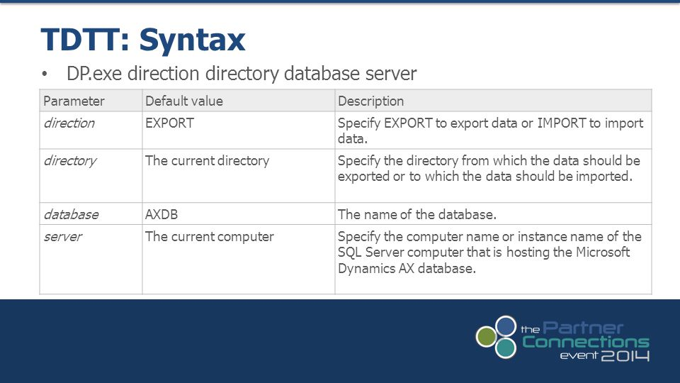 TDTT: Syntax DP.exe direction directory database server Parameter