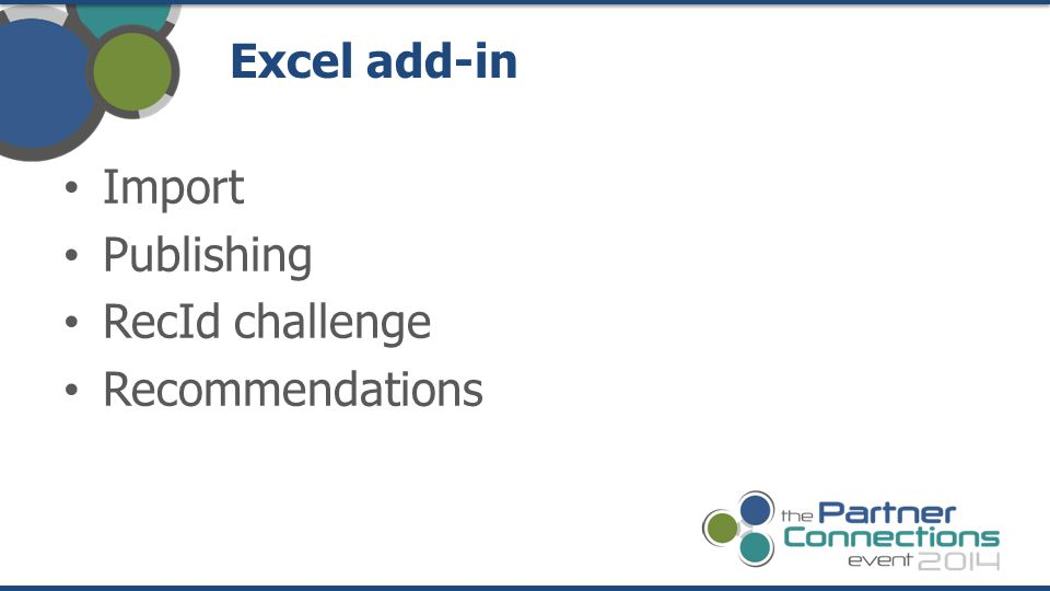 Excel add-in Import Publishing RecId challenge Recommendations