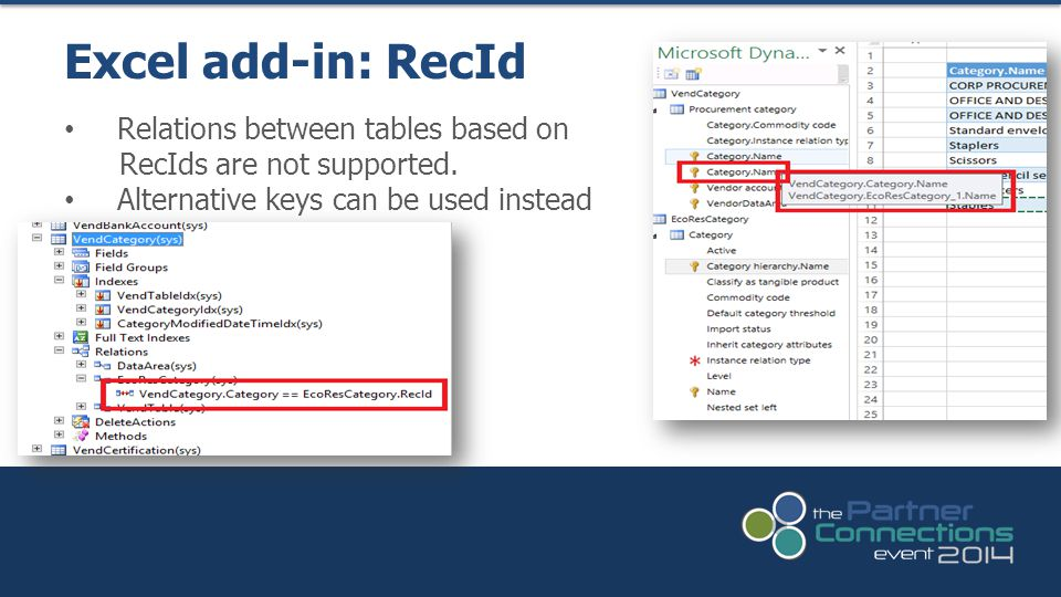 Excel add-in: RecId Relations between tables based on