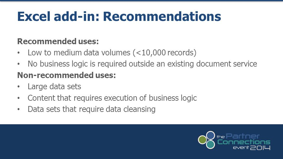 Excel add-in: Recommendations