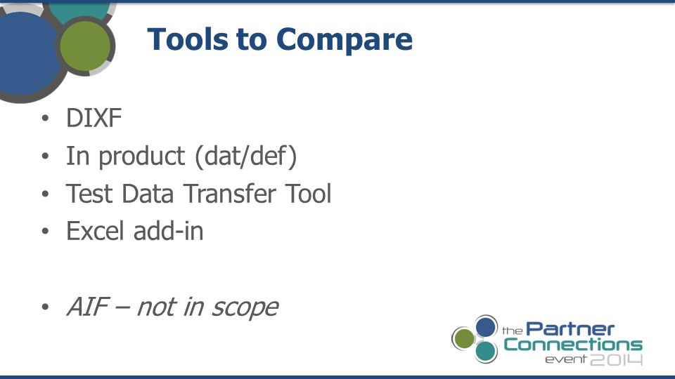 Tools to Compare DIXF In product (dat/def) Test Data Transfer Tool