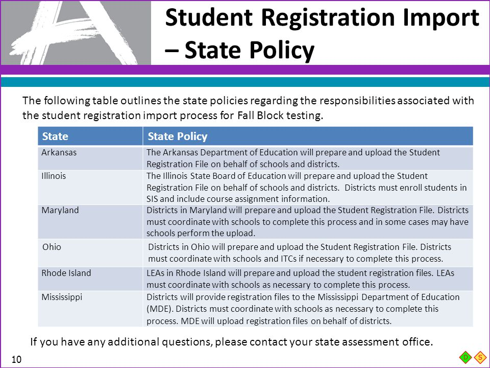 Student Registration Import – State Policy