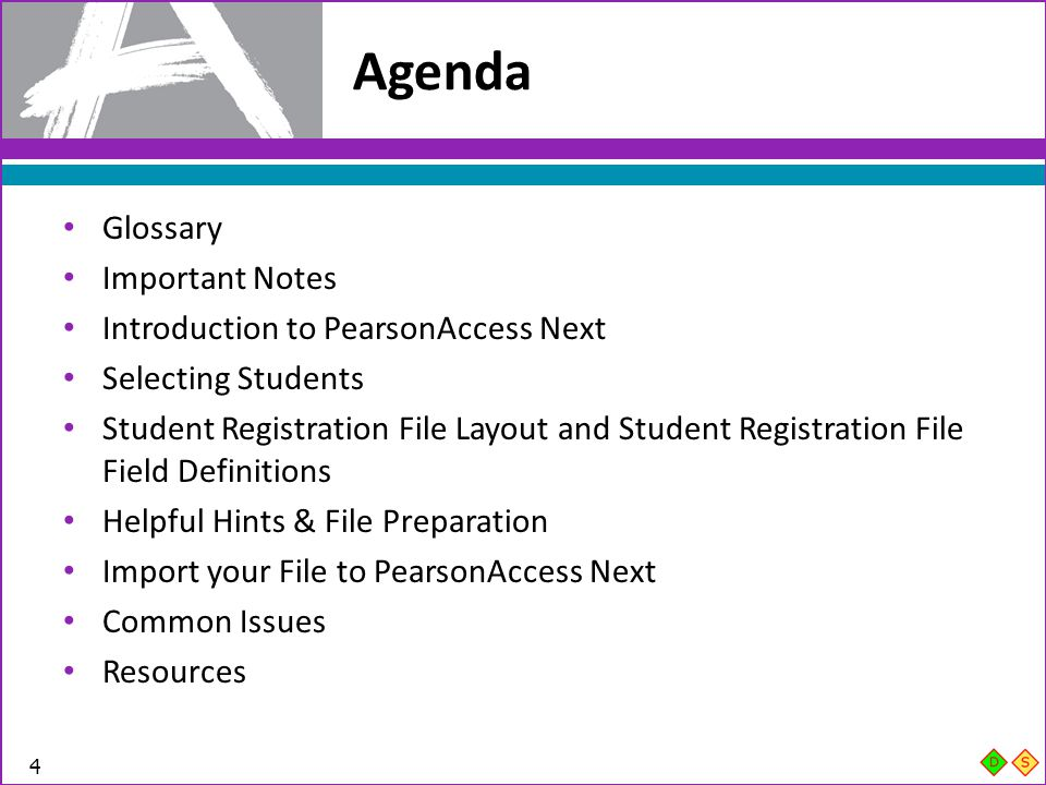 Agenda Glossary Important Notes Introduction to PearsonAccess Next