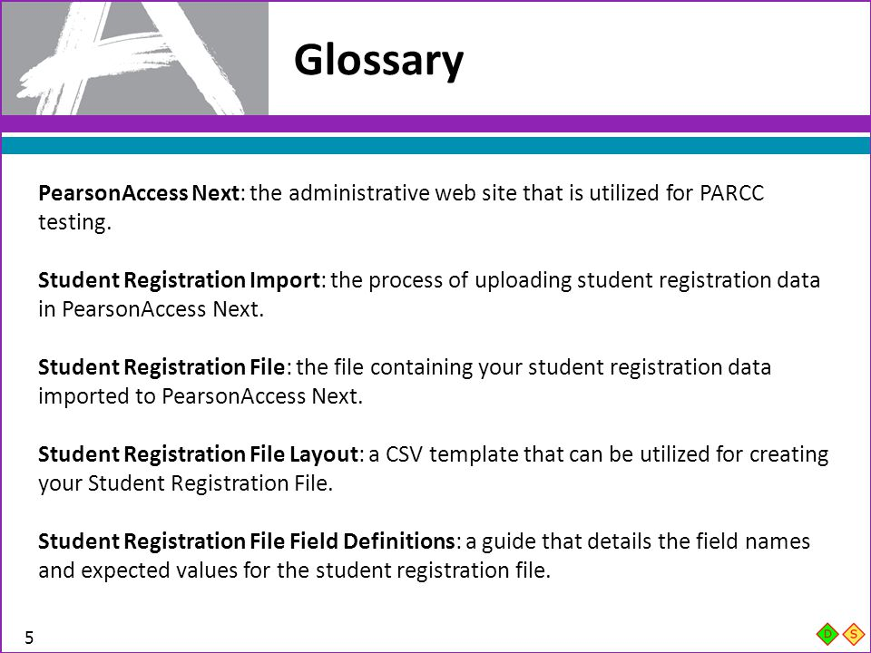 Glossary TAMS Overview for IC. PearsonAccess Next: the administrative web site that is utilized for PARCC testing.