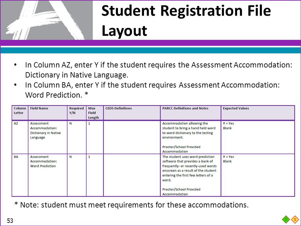 Student Registration File Layout