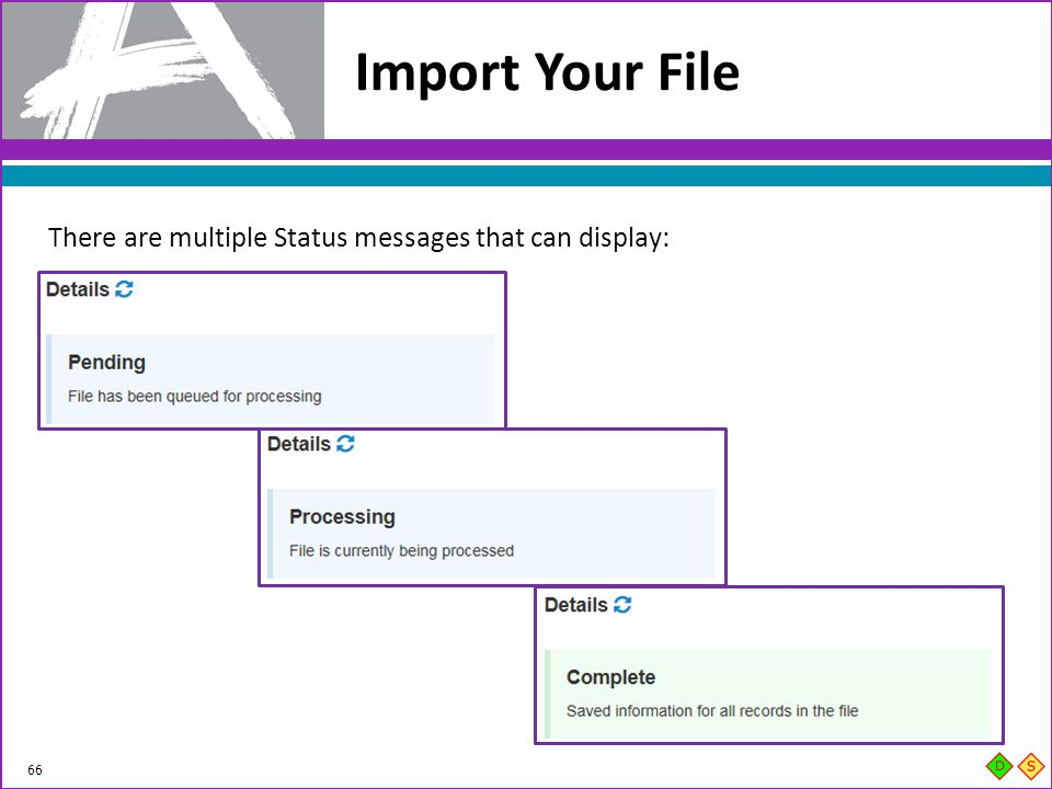 Import Your File There are multiple Status messages that can display: