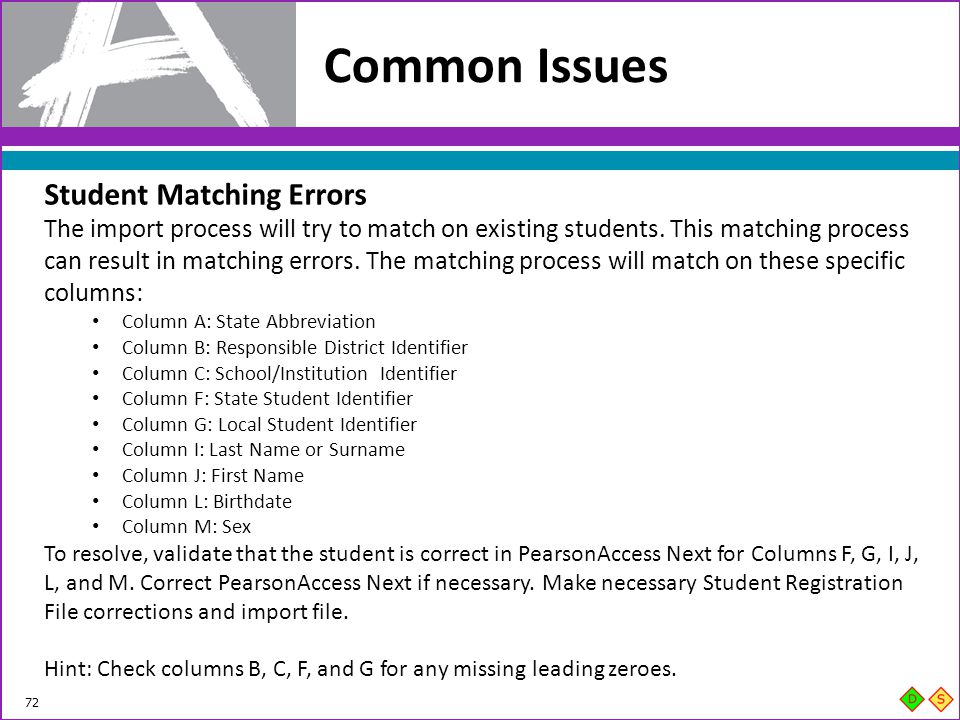 Common Issues Student Matching Errors