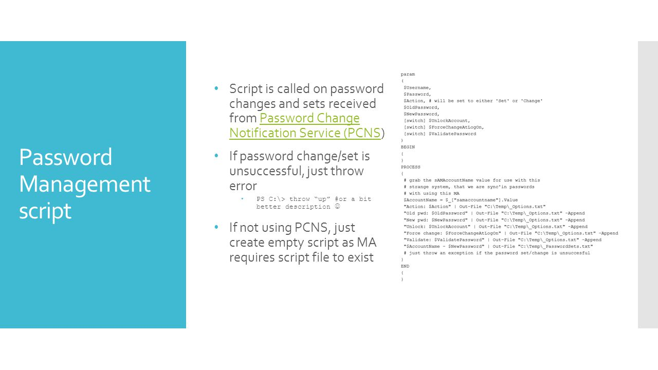 Password Management script