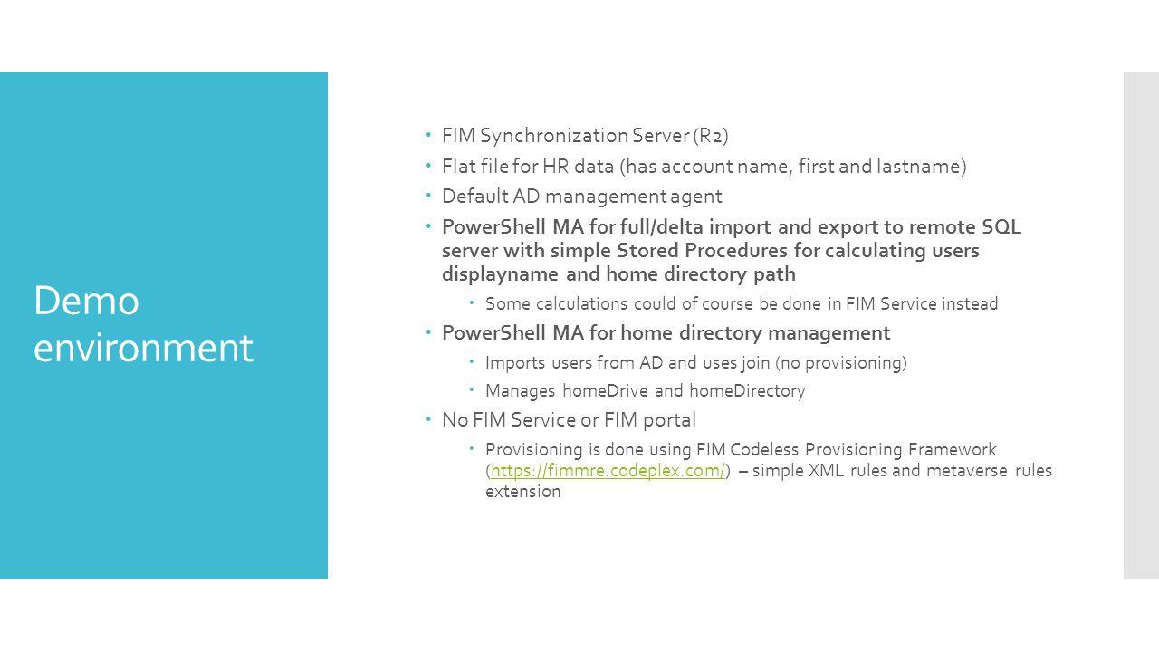 Demo environment FIM Synchronization Server (R2)