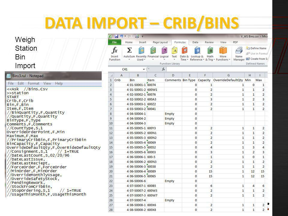 Data Import – Crib/Bins