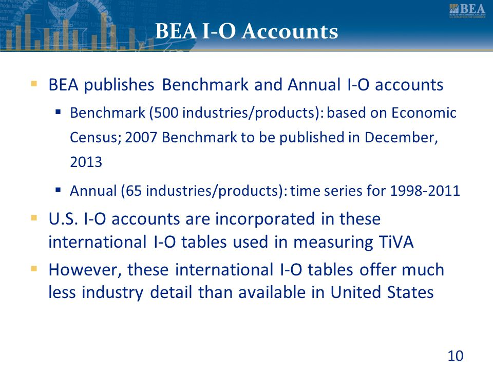 BEA I-O Accounts BEA publishes Benchmark and Annual I-O accounts