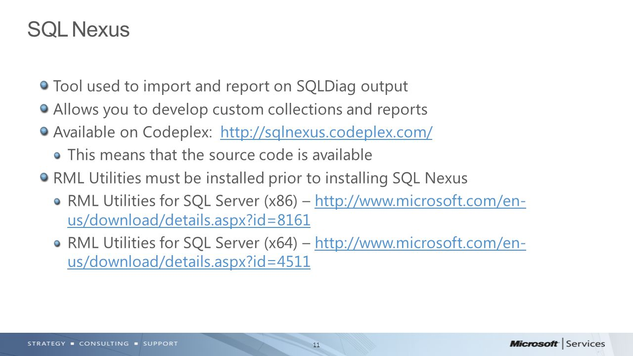 SQL Nexus Tool used to import and report on SQLDiag output