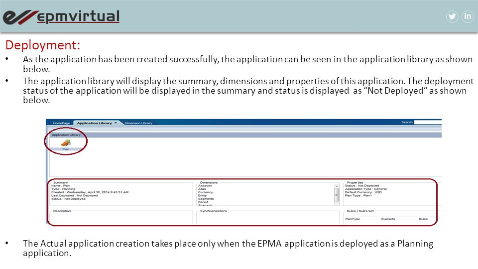 Deployment: As the application has been created successfully, the application can be seen in the application library as shown below.