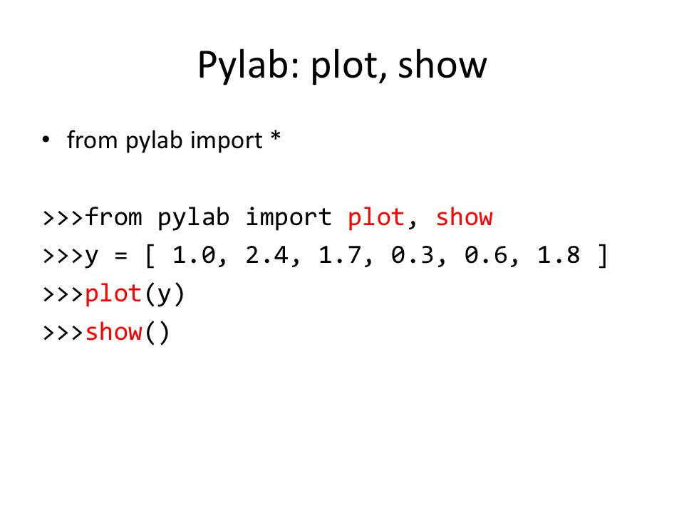 Pylab: plot, show from pylab import *
