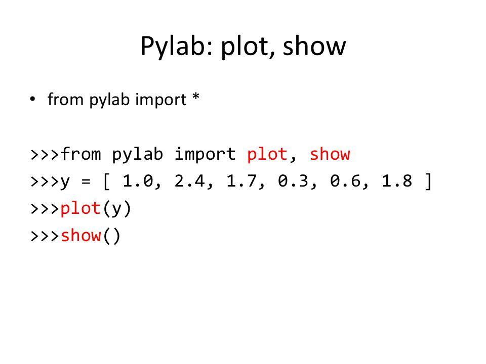 Pylab: plot, show from pylab import *