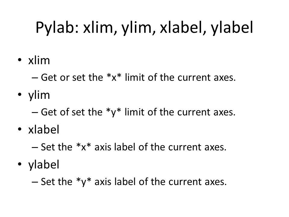 Pylab: xlim, ylim, xlabel, ylabel