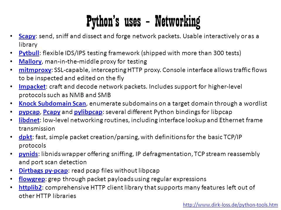 Python's uses – Networking