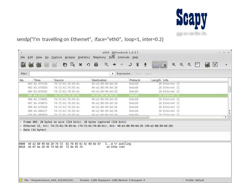 Scapy sendp( I'm travelling on Ethernet , iface= eth0 , loop=1, inter=0.2)