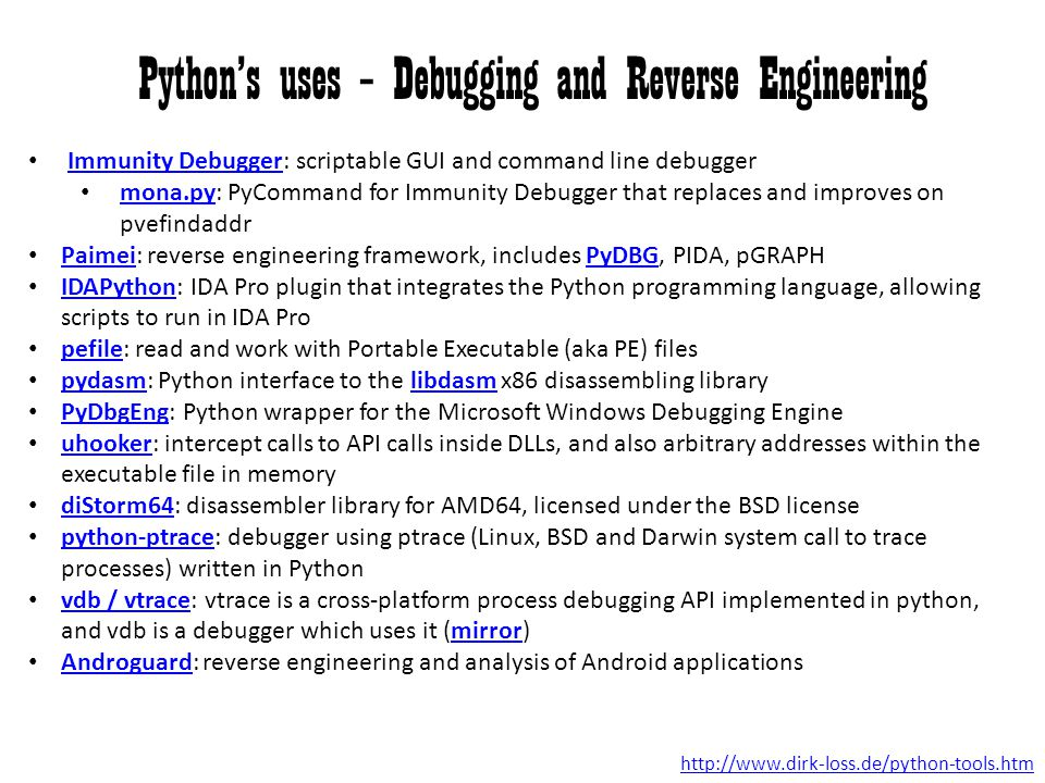 Python's uses – Debugging and Reverse Engineering