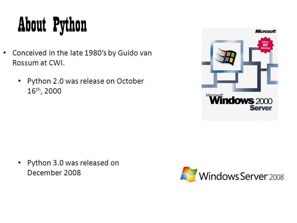 About Python Conceived in the late 1980's by Guido van Rossum at CWI.