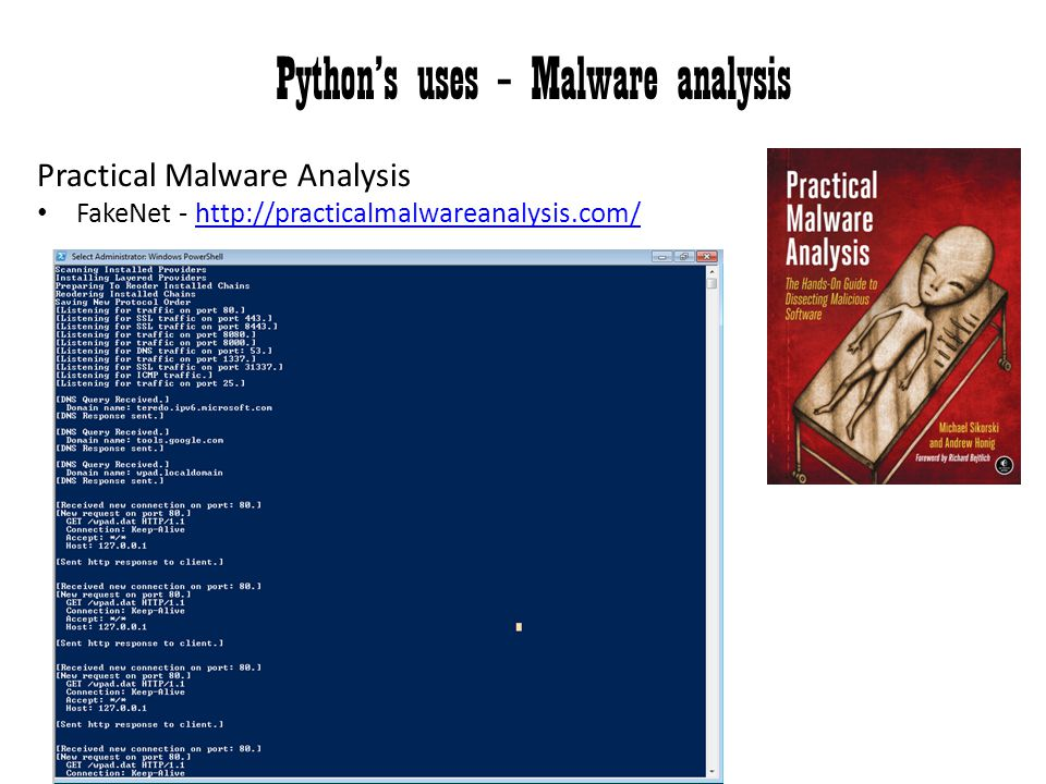 Python's uses – Malware analysis
