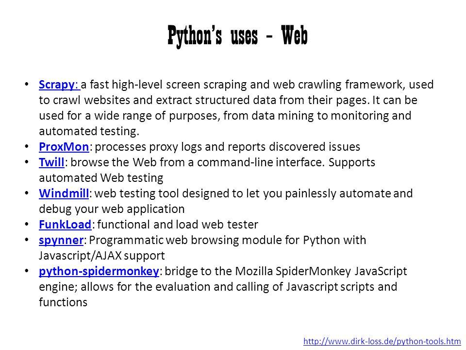 Python's uses – Web