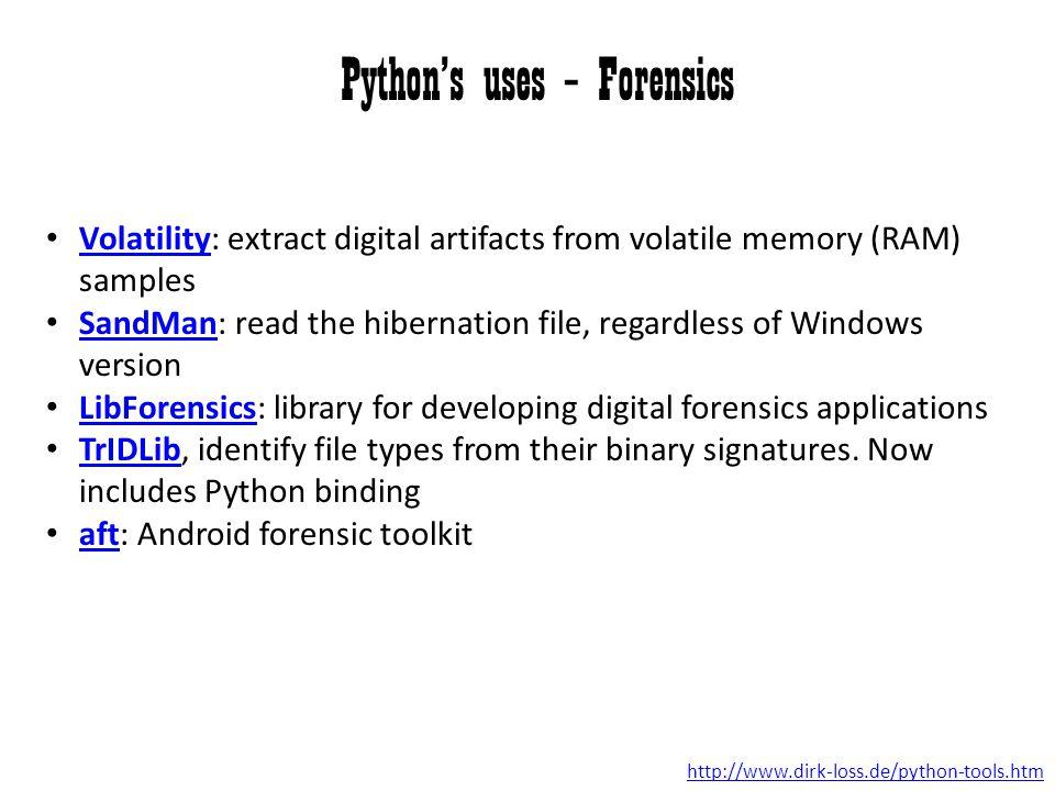 Python's uses – Forensics