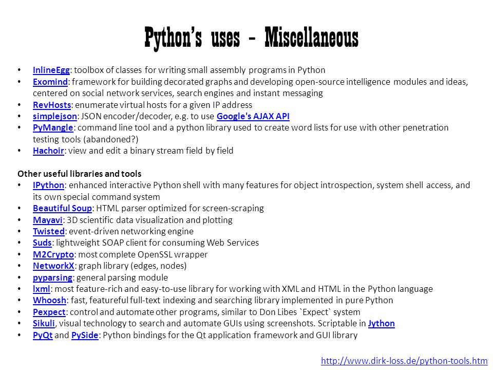 Python's uses – Miscellaneous