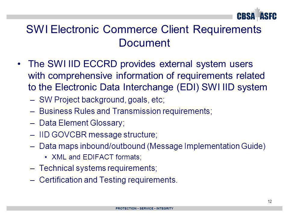 SWI Electronic Commerce Client Requirements Document