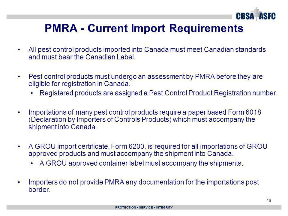 PMRA - Current Import Requirements
