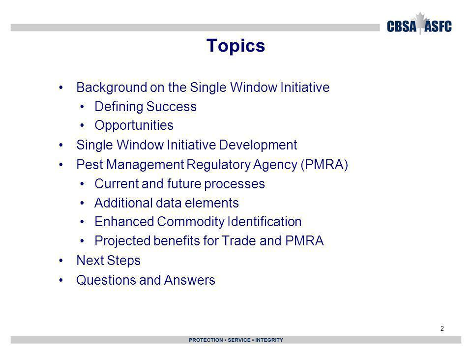 Topics Background on the Single Window Initiative Defining Success